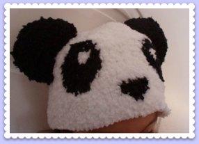 bonnet enfant tricoté mains panda