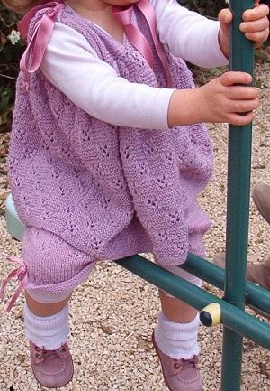ensemble bébé robe et culotte mauve fait main
