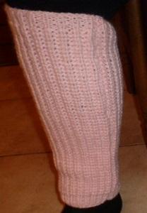 Jambières roses tricotées main