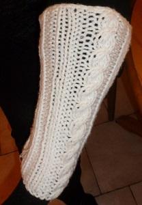 jambières écrues avec point torsade tricotées main