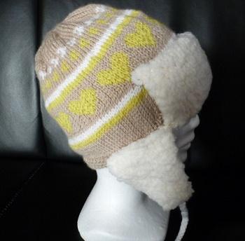 chapka bébé en jacquard douce et chaude tricotée main
