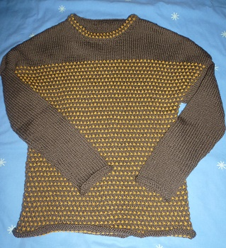 PULL FEMME TRICOTE MAIN BICOLORE, MARRON ET MOUTARDE