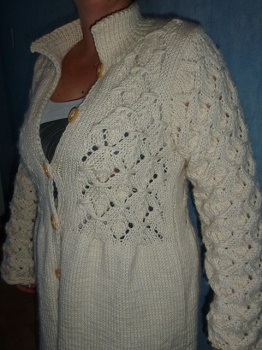veste femme tricotée main point irlandais grande taille