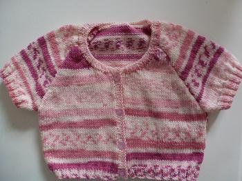 Veste coton été tricotée main façon jacquard