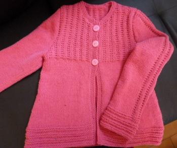 CEATION veste rose fille tricotée main en coton pour demie-saison